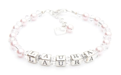 Pink Pearl Christening Bracelet - Silver Name Bracelet - Personalised Box from Charms and Occasions Ltd