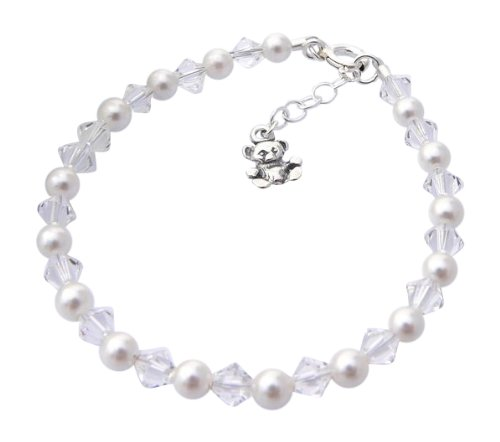 Sterling Silver Teddy Charm Birthstone Christening Bracelet from Charms and Occasions Ltd