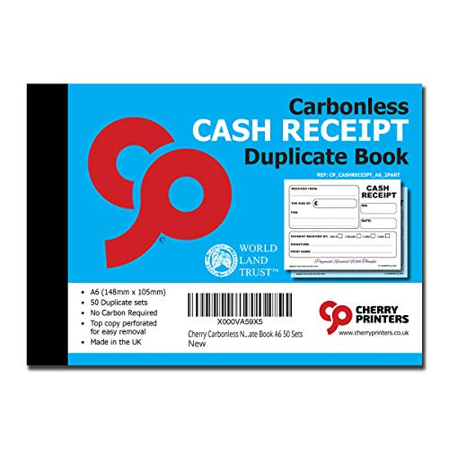 Cherry Carbonless NCR Cash Receipt Duplicate Book A6 50 Sets from Cherry Printers