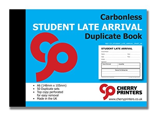Cherry Carbonless NCR School Student Late Arrival Slip Duplicate Book A6 50 Sets from Cherry Printers
