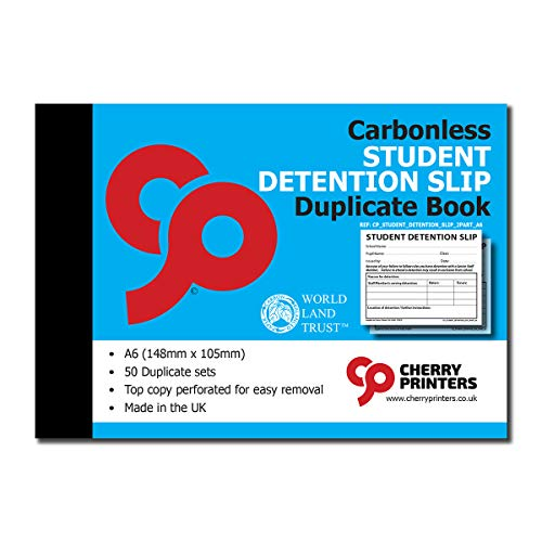 Cherry Carbonless NCR Student Detention Slip Duplicate Book A6 50 Sets from Cherry Printers