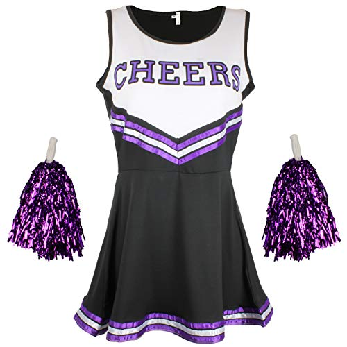 Cheerleader Fancy Dress Outfit Uniform High School Musical Costume With Pom Poms Black And Purple Cheerleader, Small from Cherry-on-Top
