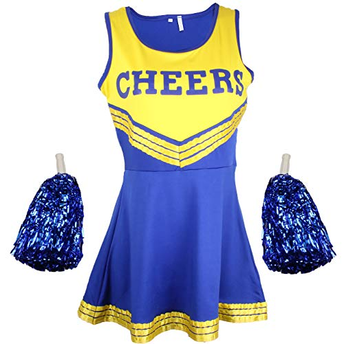 Cheerleader Fancy Dress Outfit Uniform High School Musical Costume With Pom Poms Blue And Yellow Cheerleader Small from Cherry-on-Top