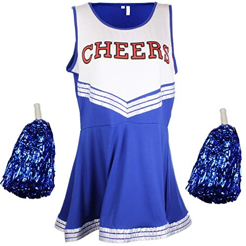 Cheerleader Fancy Dress Outfit Uniform High School Musical Costume With Pom Poms Blue Cheerleader, Large from Cherry-on-Top