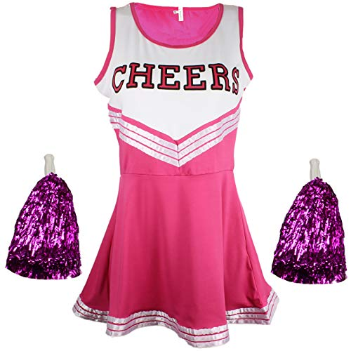 Cheerleader Fancy Dress Outfit Uniform High School Musical Costume with Pom Poms Pink Cheerleader, Large from Cherry-on-Top