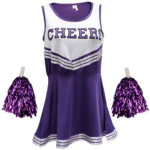 Cheerleader Fancy Dress Outfit Uniform High School Musical Costume With Pom Poms Purple Cheerleader, Small from Cherry-on-Top