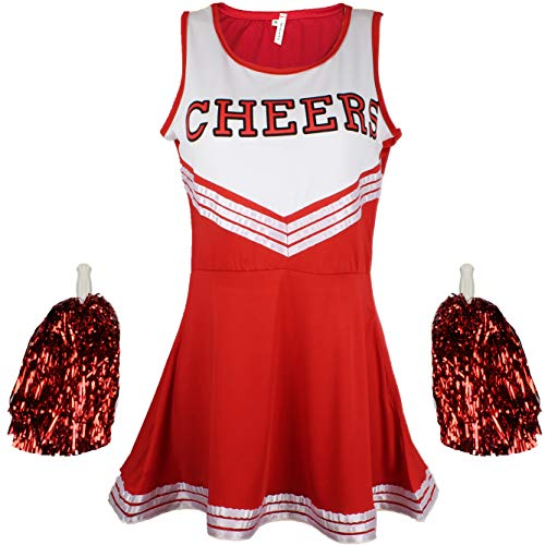 Cheerleader Fancy Dress Outfit Uniform High School Musical Costume with Pom Poms Red Cheerleader, Large from Cherry-on-Top