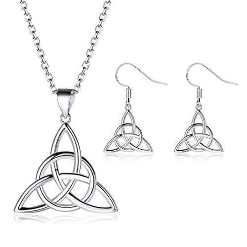 Celtic Knot Necklace Earrings Jewelry Sets for Women 925 Sterling Silver Triquetra Pendant with Rolo Chain Irish Protection Gifts from ChicSilver