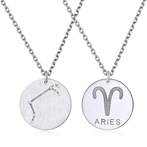 Aries Constellation Necklace Zodiac Jewelry 925 Sterling Silver Coin Pendant Horoscope Necklaces Gift for Girls from ChicSilver