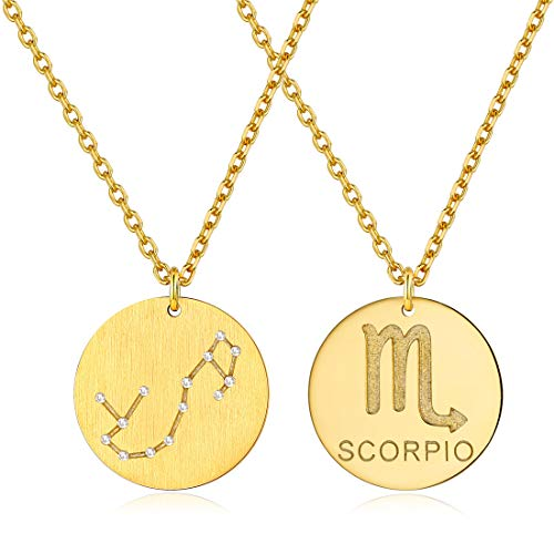 Gold Plated Scorpio Necklaces for Women Celestial Jewelry Zodiac Coin Necklace for Layering with Gift Box from ChicSilver