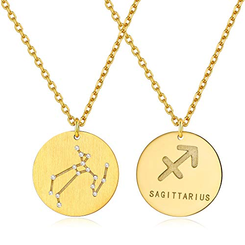 Sagittarius Horoscope Necklaces Zodiac Jewelry Layering Coin Pendant with Rolo Chain Birthday Gift from ChicSilver