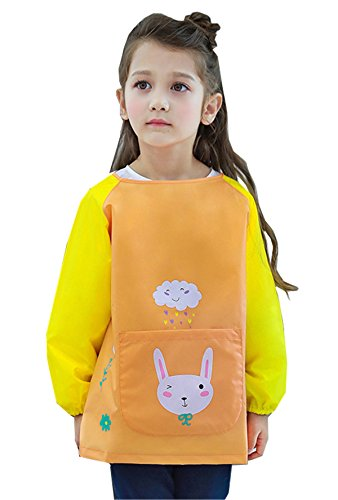 "Chilsuessy Unisex Painting Apron Toddler Children Kids Waterproof Long-sleeved Smock Apron Bib for Eating and Painting, Orange, XL/Body Height 53""-59"" from Chilsuessy"