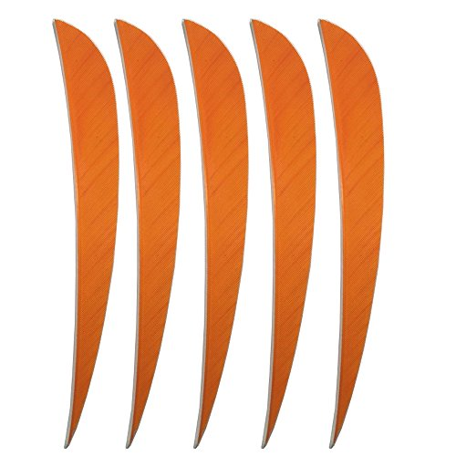50pcs Archery Feathers Arrow Turkey Fletching 5 Inch Natural Feather Right Wing (Orange) from China Wilderness Hunter