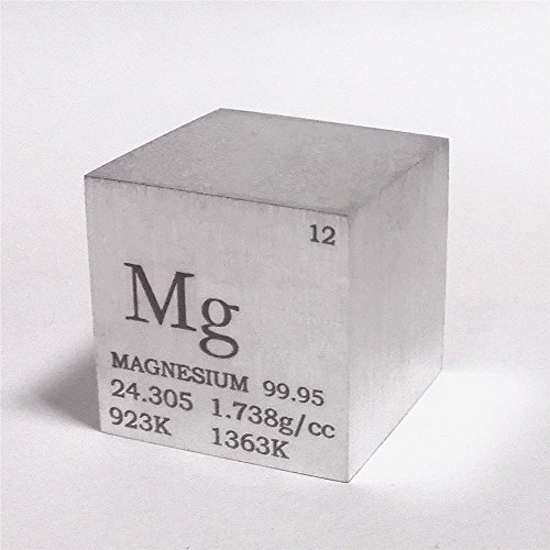 1 inch 25.4mm Magnesium Metal Cube 28g 99.95% Engraved Periodic Table from Chinaium