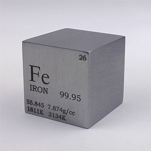 1 inch 25.4mm Pure Iron Metal Cube 128g 99.95% Engraved Periodic Table from Chinaium