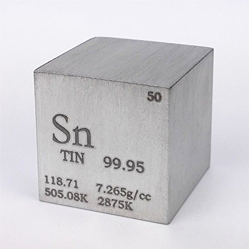 1 inch 25.4mm Tin Metal Cube 99.95% 119grams Engraved Period Table from Chinaium