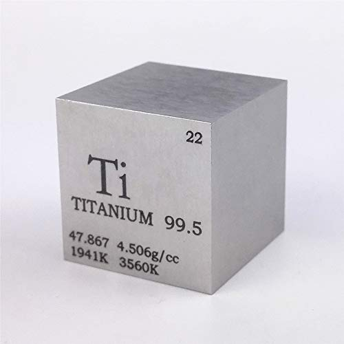 1 inch 25.4mm Titanium Metal Cube 73g 99.5% Engraved Periodic Table from Chinaium