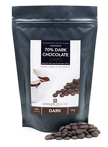 70% Dark Chocolate Chips - Medium 500g bag from Chocolate Trading Co
