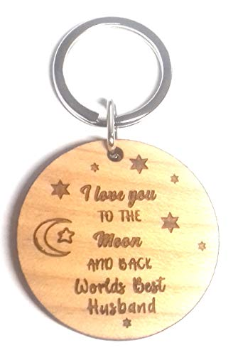 LOVE YOU TO THE MOON AND BACK WORLDS BEST HUSBAND Wooden Wood KEYRING Key Ring Gifts Novelty Birthday Christmas Wedding Anniversary Presents Ideas For My I from Chris Bag of Goodies