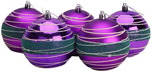 5-100mm Large Baubles - Shiny, Matte & Bead Design - Christmas Decorations (Purple & Ice Blue) from Christmas Concepts