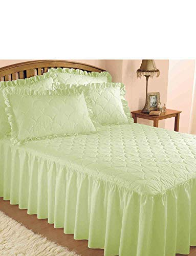 Plain Quilted Bedspread with Pillow Shams sold separately Green Single from Chums