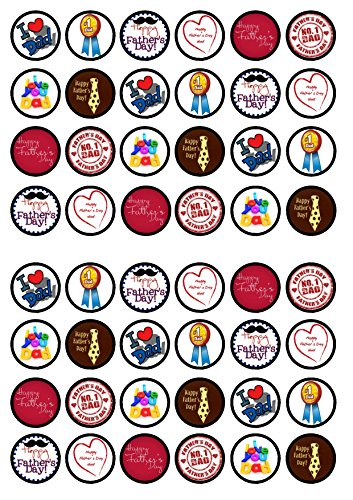 48 Fathers Day Edible PREMIUM THICKNESS SWEETENED VANILLA,Wafer Rice Paper Mini Cupcake Toppers, Cake Pops, Cookies from Cian's Cupcake Toppers Ltd