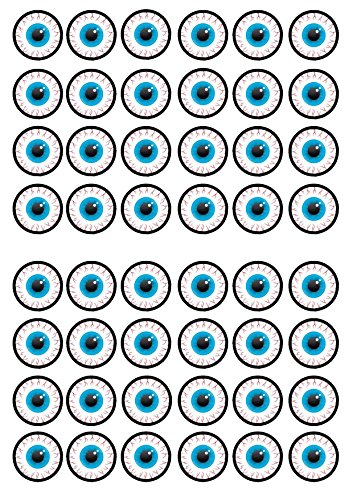 48 Halloween Eyeball Edible PREMIUM THICKNESS SWEETENED VANILLA, Wafer Rice Paper Mini Cupcake Toppers, Cake Pops, Cookies from Cian's Cupcake Toppers Ltd