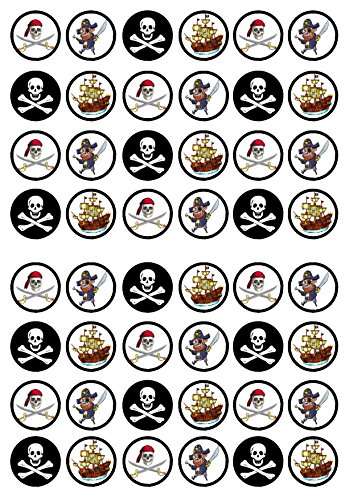48 Pirate Edible PREMIUM THICKNESS SWEETENED VANILLA,Wafer Rice Paper Mini Cupcake Toppers, Cake Pops, Cookies from Cian's Cupcake Toppers Ltd