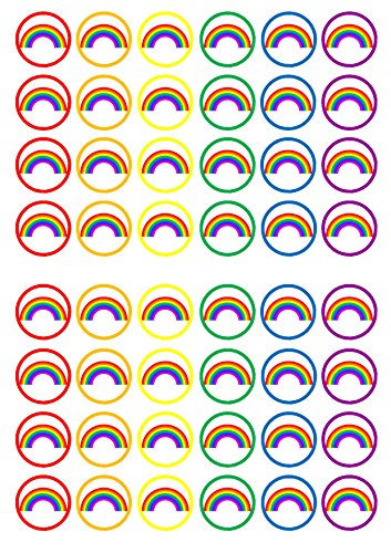 48 Rainbow Edible PREMIUM THICKNESS SWEETENED VANILLA, Wafer Rice Paper Mini Cupcake Toppers, Cake Pops, Cookies from Cian's Cupcake Toppers Ltd