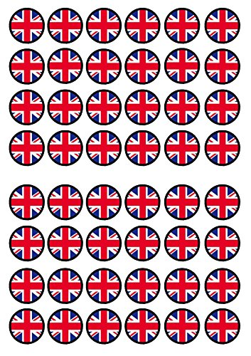 48 Union Jack Edible PREMIUM THICKNESS SWEETENED VANILLA,Wafer Rice Paper Mini Cupcake Toppers, Cake Pops, Cookies from Cian's Cupcake Toppers Ltd