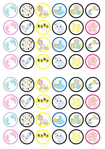 48 Unisex Baby Shower/Christening Edible PREMIUM THICKNESS SWEETENED VANILLA, Wafer Rice Paper Mini Cupcake Toppers, Cake Pops, Cookies from Cian's Cupcake Toppers Ltd
