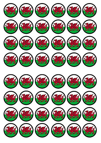 48 Welsh Dragon Edible PREMIUM THICKNESS SWEETENED VANILLA, Wafer Rice Paper Mini Cupcake Toppers, Cake Pops, Cookies from Cian's Cupcake Toppers Ltd
