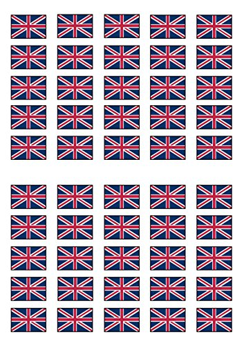 50 British Union Jack Flag, Edible PREMIUM THICKNESS SWEETENED VANILLA, Wafer Rice Paper Mini Cupcake Toppers, Cake Pops, Cookies from Cian's Cupcake Toppers Ltd
