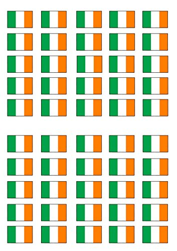 50 Irish Flag, Edible PREMIUM THICKNESS SWEETENED VANILLA, Wafer Rice Paper Mini Cupcake Toppers, Cake Pops, Cookies from Cian's Cupcake Toppers Ltd