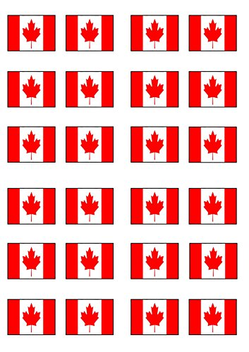 Canadian Flag, Edible PREMIUM THICKNESS SWEETENED VANILLA, Wafer Rice Paper Cupcake Toppers/Decorations from Cian's Cupcake Toppers Ltd