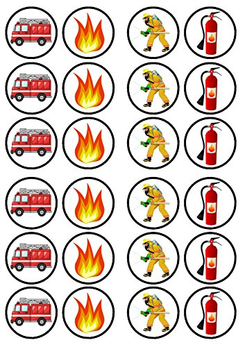 24 Fire Engine/Fireman Edible PREMIUM THICKNESS SWEETENED VANILLA, Wafer Rice Paper Cupcake Toppers/Decorations from Cian's Cupcake Toppers Ltd