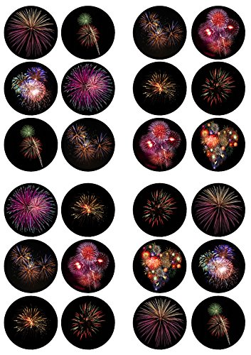 24 Fireworks, New Year Edible PREMIUM THICKNESS SWEETENED VANILLA, Wafer Rice Paper Cupcake Toppers/Decorations from Cian's Cupcake Toppers Ltd