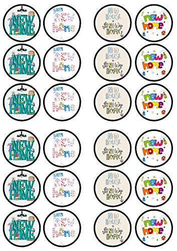 24 New Home Edible PREMIUM THICKNESS SWEETENED VANILLA, Wafer Rice Paper Cupcake Toppers/Decorations from Cian's Cupcake Toppers Ltd