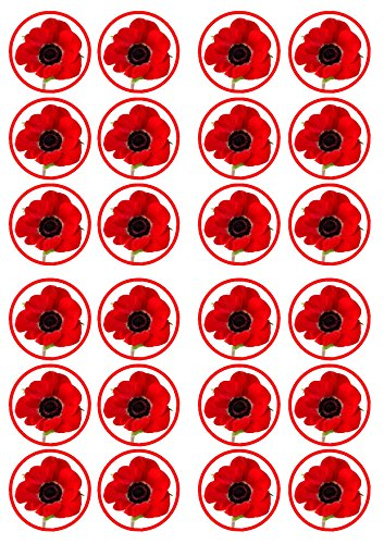 Poppy Flower Edible PREMIUM THICKNESS SWEETENED VANILLA, Wafer Rice Paper Cupcake Toppers/Decorations from Cian's Cupcake Toppers Ltd