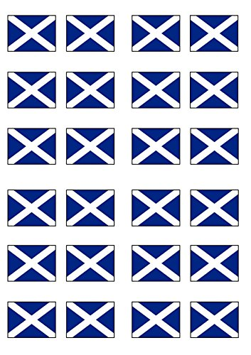 24 Scottish Flag, Edible PREMIUM THICKNESS SWEETENED VANILLA, Wafer Rice Paper Cupcake Toppers/Decorations from Cian's Cupcake Toppers Ltd