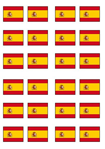 24 Spanish Flag, Edible PREMIUM THICKNESS SWEETENED VANILLA, Wafer Rice Paper Cupcake Toppers/Decorations from Cian's Cupcake Toppers Ltd