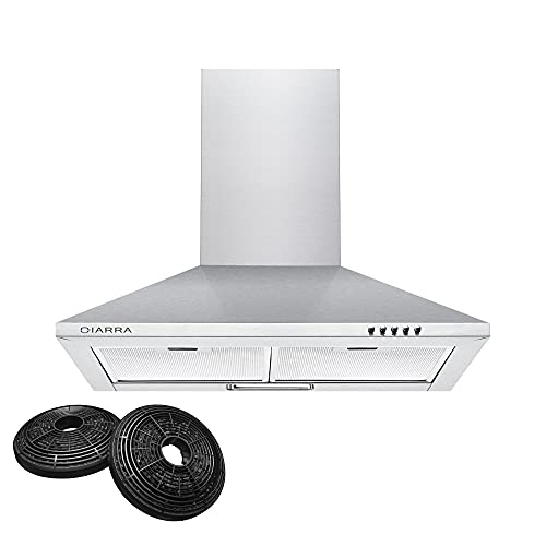 CIARRA Cooker Hoods 60cm Stainless Steel Chimney Range Hood 600mm Recirculating Duct Kitchen Ventilation Extractor Fan with Grease Aluminum Filters Silver from CIARRA