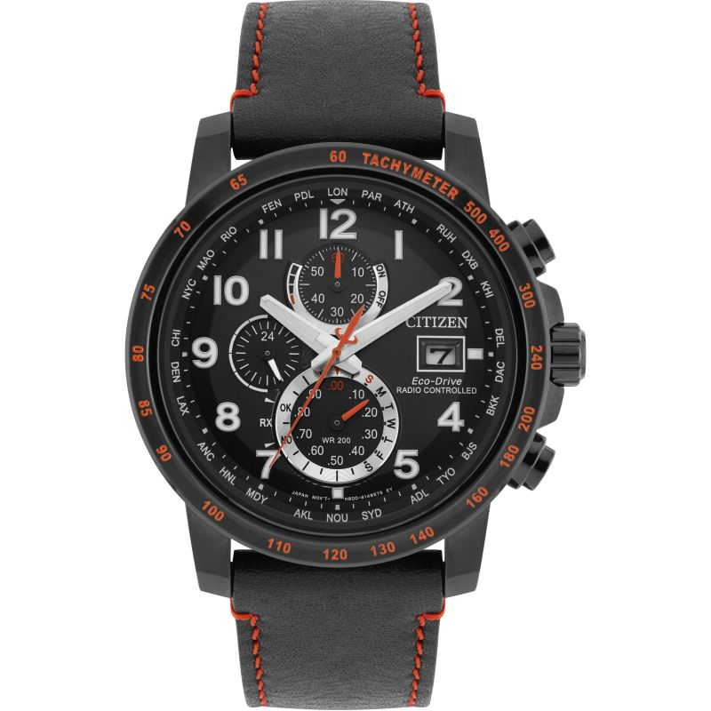 Mens Citizen Eco-drive World Chrono A.T Radio Controlled Chronograph Stainless Steel Watch from Citizen