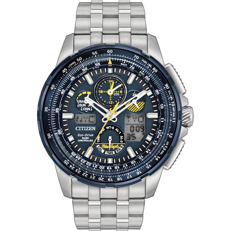 Mens Citizen Skyhawk A-T Blue Angels Alarm Chronograph Radio Controlled Watch from Citizen