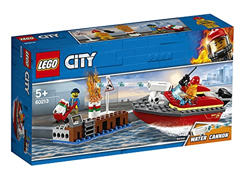 LEGO 60213 City Fire Dock Side Fire Boat Playset, Firefighter minifigure and Acessories, Bath Toys for Kids from City Fire