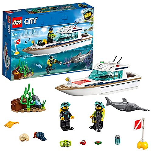 LEGO 60221 City Great Vehicles Diving Yacht Boat Toy with Diver Minifigures, Sea Creatures and Swordfish Figure, Deep Sea Set for Kids 5+ Years Old from LEGO