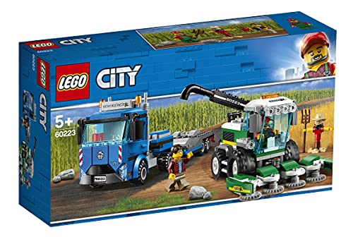 LEGO 60223 City Great Vehicles Harvester Transport with Truck and Trailer, plus Combine Tractor Toy, 2 Minifigures and Scarecrow Figure, Farm Toys for 5+ from LEGO