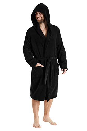 CityComfort Men Coral Fleece Dressing Gown (M, Black Hooded) from CityComfort