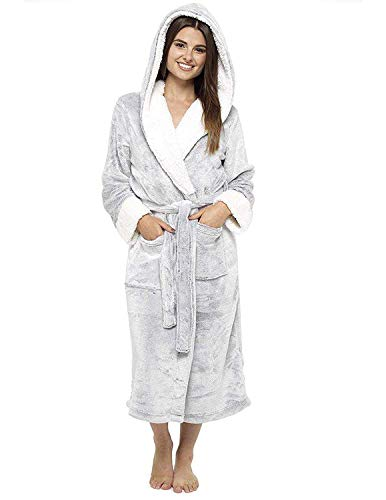 CityComfort Luxury Ladies Dressing Gown Soft Plush Bath Robe for Women Housecoat Loungewear Bathrobe (Grey Hooded, Medium (12-14)) from CityComfort