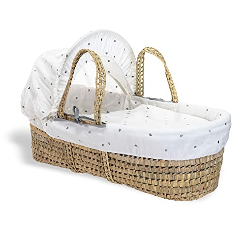 Clair de Lune Palm Moses Basket (Lullaby Hearts) from Clair de Lune